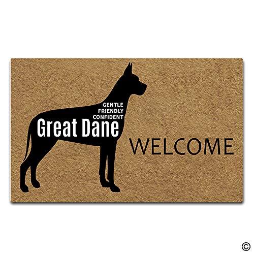 Artswow Welcome Mat Funny Doormat Indoor Outdoor Entrance Floor Mat Personalized Doomat Non-Slip Rubber Backing Door Mat 30 by 18 Inch, Welcome Great Dane (Great Dane Doormat)