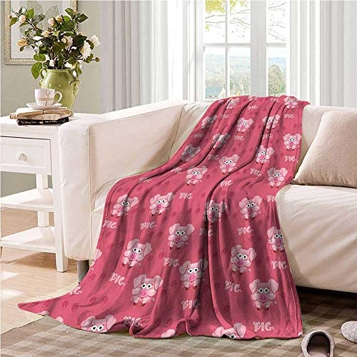Oncegod Couch Blanket Pig Cartoon Style Animals in Farm Blanket on Bed Sofa Bedding 91