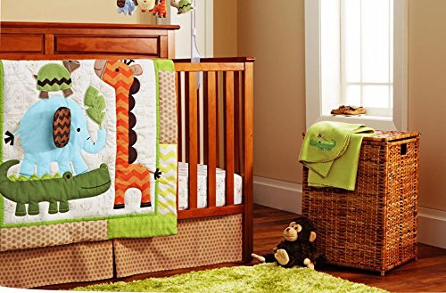 NAUGHTYBOSS Unisex Baby Bedding Set Cotton 3D Embroidery Elephant Crocodile Tortoise Owl Quilt Bumper Mattress Cover Bed Skirt Blanket 9 Pieces Set by NAUGHTYBOSS