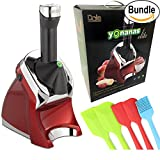 Yonanas Elite Frozen Healthy Dessert Maker - 100% Fruit Soft-Serve Maker, Spatula Set & Yonanas Recipe Book (Deluxe Red Bundle)