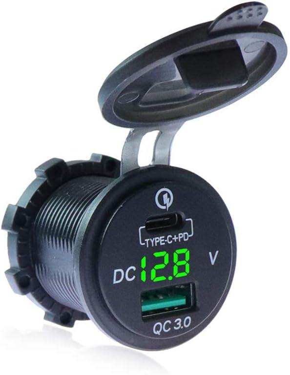 3 IN 1 TYPE-C QC3.0 5V//3A LED Digital Voltmeter for 12//24V Marine Boat Car Truck