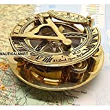 "Brass Sundial Compass 3"" with Beautiful Leather Case NauticalMart"
