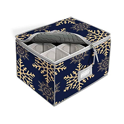 Deluxe Quilted Stemware Storage Chest, Champagne Flute or Wine Glasses Glassware Storage Case Container, Service for 12 (# L)