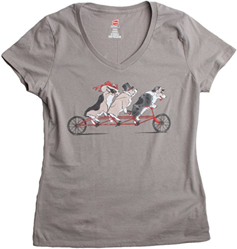 Fancy Welsh Corgis take a Tandem Bicycle to Tea Time | Ladies' V-neck T-shirt