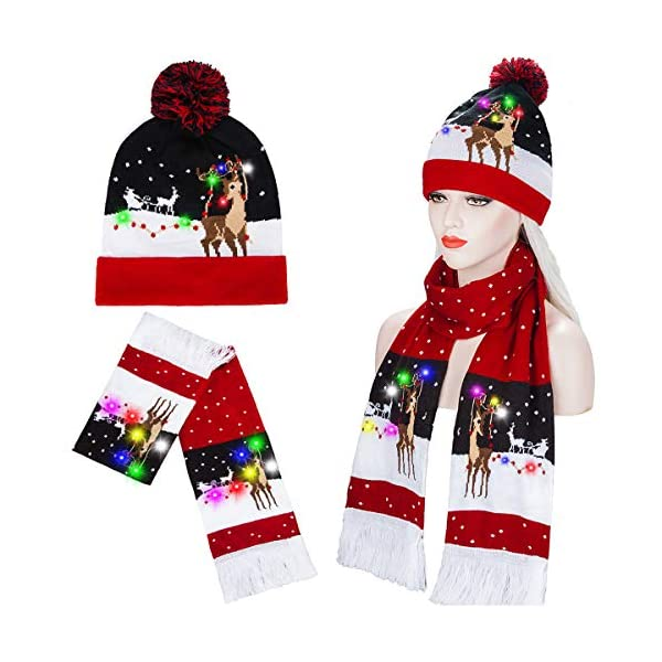 Bravo Sport LED Light Up Knitted Ugly Sweater Hat Holiday Xmas Christmas Beanie Cap Hat/&Scarf