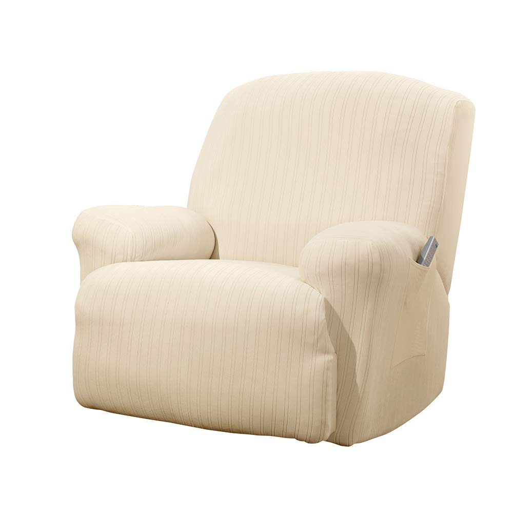 Cream Recliner SureFit Stretch Pinstripe - Wing Chair Slipcover - Taupe