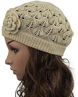 c0ecddb43624f MINAKOLIFE Womens Super Soft Flower Laciness Knit Beanie Hat