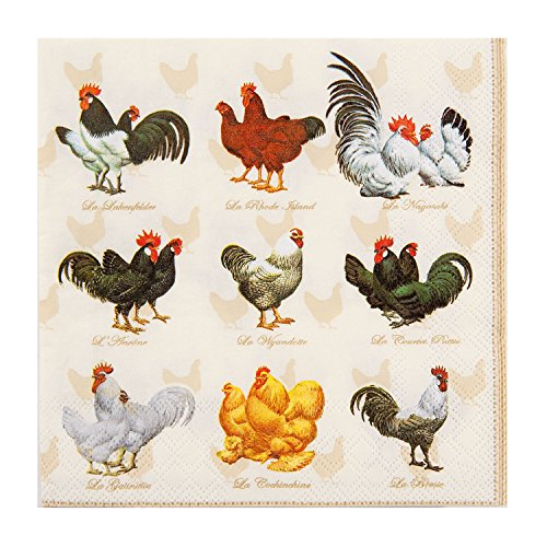 ROOSTER COCKEREL CREAM GOLD BORDERED 3-PLY 20 PAPER NAPKINS SERVIETTES 13 x 13