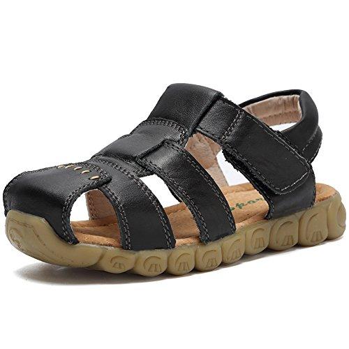 CIOR Boys' Closed-Toe Leather Outdoor Sport Casual SandalsTLX04-Black-29