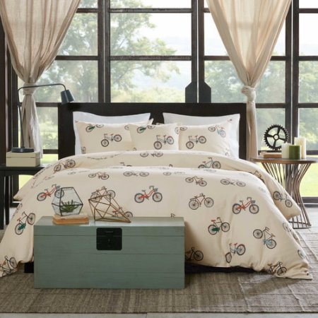 NEW! Home Essence Hudson Full/Queen 4-Piece Duvet Cover Bedding Set with Matching Pillow Shams and Decorative Pillow in Bicycle - Address Westland