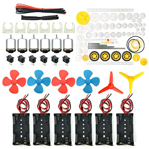 EUDAX 6 set Rectangular Mini Electric 1.5-3V 24000RPM DC Motor with 84 Pcs Plastic Gears,Electronic wire, 2 x AA Battery Holder ,Boat Rocker Switch,Shaft Propeller for DIY Science Projects from EUDAX