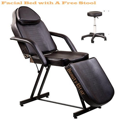 BeautyStar Beauty Salon Table Bed Chair for All-Purpose Facial Make-up Eyebrows Waxing Massage with One Stool in Free