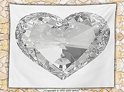 Diamond Decor Fleece Throw Blanket Big Stylish Sparkling Diamonds Heart Elegant Rock Romance Crystal Home Design Throw Grey White