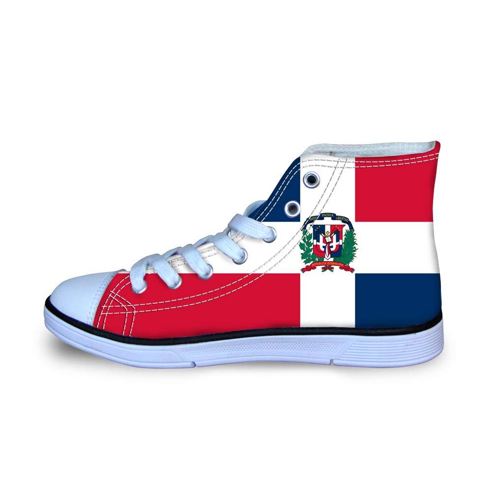 Canvas High Top Sneaker Casual Skate Shoe Boys Girls Dominica Flag