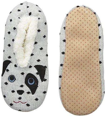 Embroidery Dalmatian (K. Bell Women's Novelty Sherpa Slipper, White Dalmatian, SMALL/MEDIUM)