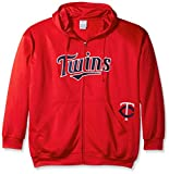 MLB Minnesota Twins Men's Full Zip Poly Fleece with Wordmark Chest with Logo near Pocket, 2X/Tall, Red