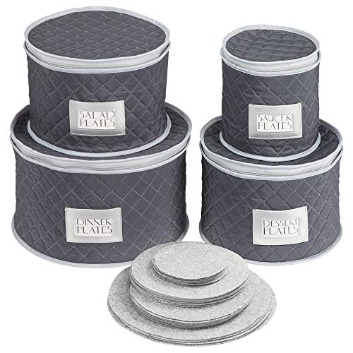 mDesign Quilted Dinnerware Storage 4 Piece Set for Protecting and Transporting Fine China, Dishes, Plates, Bowls - Holds Service for 12 - Felt Protectors Included with Each Round Bin - Navy Blue/Gray