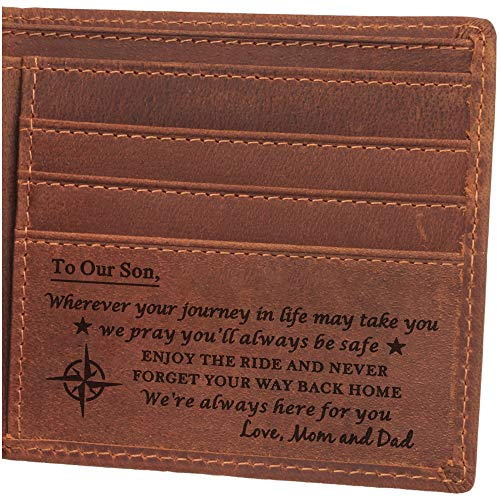 Engraved Leather Wallet, Personalized Gifts for Son, Birthday, Graduation Gift from Mom and Dad