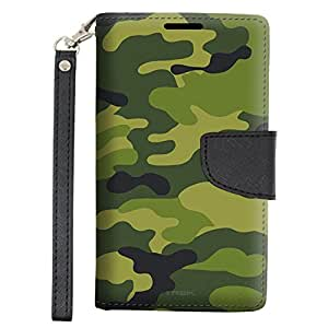 Alcatel OneTouch Conquest Wallet Case - Camouflage Green Yellow