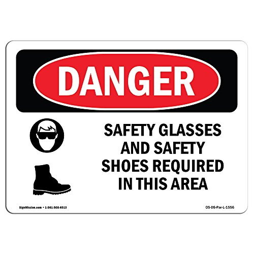 (OSHA Danger Sign - Safety Glasses and Safety Shoes Required | Aluminum Sign | Protect Your Business, Construction Site, Shop Area | Made in The USA)