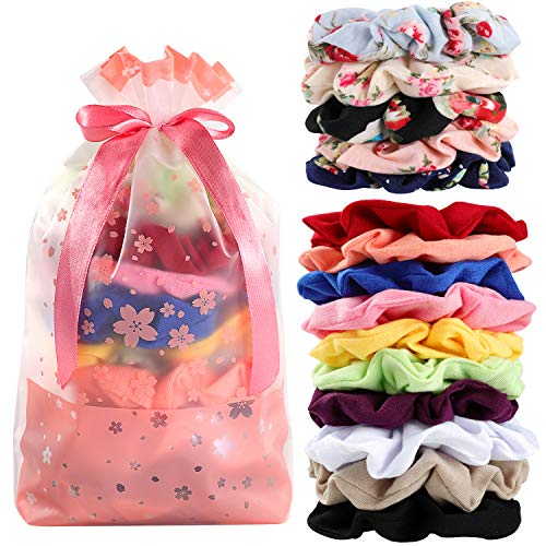 Hair Scrunchies Cotton Elastic Hair Bands 15 Pcs Scrunchies for Hair Accessories for Women or Girls ()