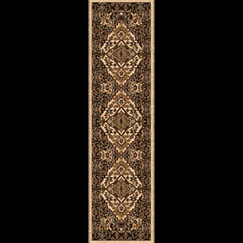 Diva At Home 2' x 7.5' La Belle Fleur Jet Black, Olive Green and Beige Decorative Area Throw Rug Runner by Diva At Home