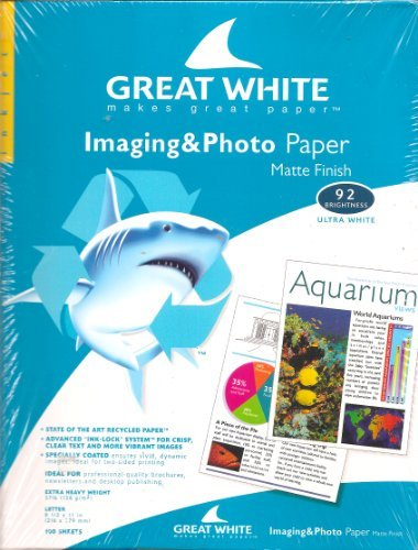 Great White(R) Matte Coated Imaging & Photo Paper, 8 1/2in. x 11in., 37 Lb., 92 Brightness, Pack Of 100 Sheets