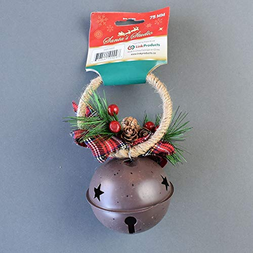 Quasimoon PaperLanternStore.com Blowout Large Brown Country Jingle Bell Door Knob Hanger Christmas Holiday Decoration