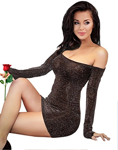 Resort Goddess Off The Shoulder Long Sleeve Sexy Bodycon Summer Dress Mini Dress for Woman Short Skirt Stretchy Party Club Cocktail Black Gold Silver (Silver black)