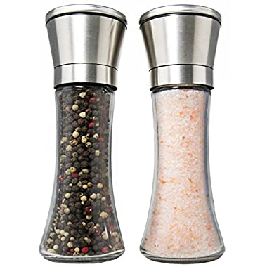 Best Deluxe Salt and Pepper Grinder Set of 2 - Professional Salt and Pepper Shakers - Pepper Mill and Salt Mill - 6 Oz Glass Tall Body and Adjustable Ceramic Rotor - By Chef Express Products