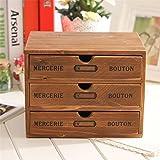 Household Storage Organization Decoration Wood Cosmetic Box Vintage Wooden Storage Case Drawer Makeup Box Storage Boxes Kangsanli