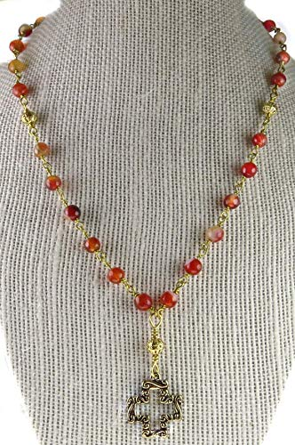 Cross Toggle Clasp - Rosary Necklace 18 Inch Red Agate stones with Gold Tone Accents Gold Tone Cross Religious Gift Toggle Clasp Handmade Unbreakable