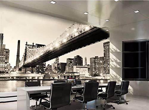 (Muralayf Custom Wallpaper Living Room Bedroom Murals Manhattan Bridge Black and White Landscape Tv Background 3D Wallpaper-250Cmx175Cm)