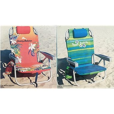 2 Tommy Bahama 2016 Backpack Cooler Chair with Storage Pouch and Towel Bar (Orange/Red & Green/Blue)