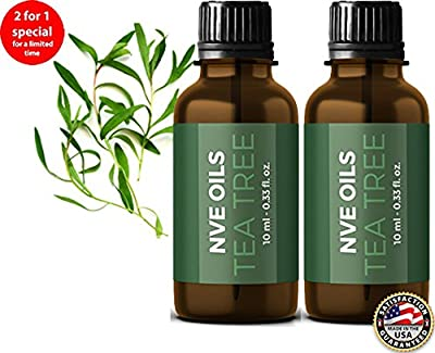 Pure Tea Tree Essential Oil By NVE Oils (2)-Guaranteed 100% Pure & Natural For Diffuser, Aromatherapy, Headache, Pain, Meditation, Stress, Anxiety, Sleep, Cosmetics, Soaps, Candles, Skin Care