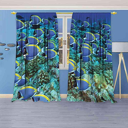 - YEYUXIANGLAN Blackout Curtains Ocean,School of Powder Blue Tang Fishes in The Coral Reef Maldives Deep Seas,Aqua Blue and Yellow Curtains Energy Efficient W120 x L96(305cm x 245cm)