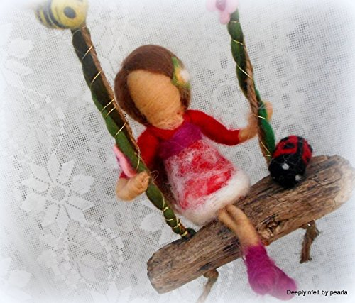 Nursery mobile, baby girl gift, One of a kind Needle felted A girl on a swing mobile, waldorf inspired.
