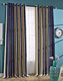 Nibesser Luxury Thickening Chenille Stripe 95% Blackout Curtains Drapes for Bedroom Thermal Insulated Grommet,1 Panel(52W x 95L Inch, Deep blue) Review