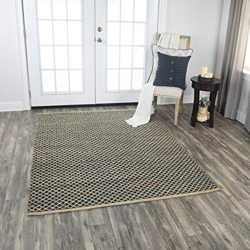 (Rizzy Home WY715A Wynwood Collection Cotton/Jute Woven Area Rug 5'x7', 5' x 7', Blue/Beige)