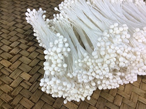 White Beekeeper Costume (White Pollen Small Sphere Head Flower Stamen Pollens Handmade Flowers)