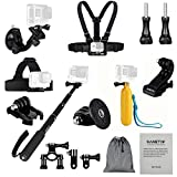 Sametop 11 in 1 Accessories Kit for Gopro Hero 5, 4, Session, 3+, 3, 2, 1 Cameras; Suitable for Mountain Biking, Skiing, Snowboarding, Diving and Other Outdoor Sports (Including User Guide)