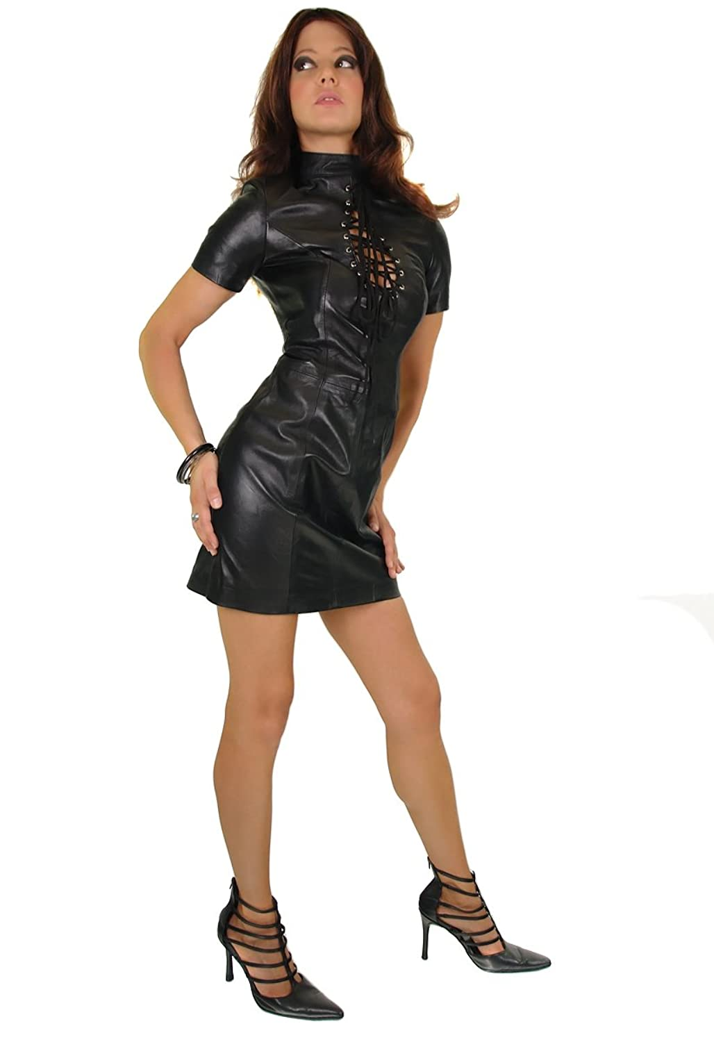 Asia Domina Dress Genuine Leather Black with collar and short Arm. Model S81