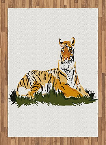 Africa Area Rug by Lunarable, Striped Safari Animal Tiger Watercolored Design Image Artwork, Flat Woven Accent Rug for Living Room Bedroom Dining Room, 5.2 x 7.5 FT, Earth Yellow Black and White by Lunarable
