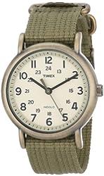 Timex Unisex T2N894 Weekender Olive Green Nylon Strap Watch
