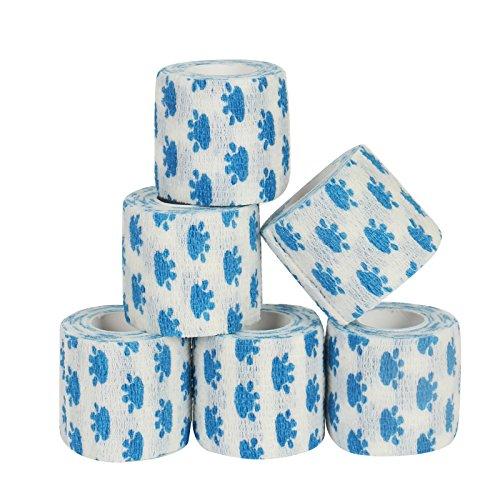 6 Stück weißer Hundeverband mit blauem Pfotendruck kohäsive Bandage Fixierbinde Selbsthaftend Elastisch 5 cm breit x 4,5 meter dehnbar, 6er Set Wundverband, Verband Hand, Elle, Knie, Fuß, Gelenke, Pflasterverband
