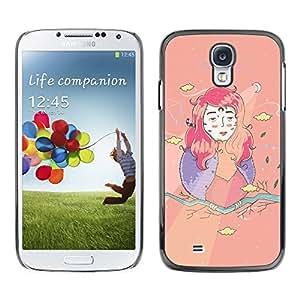 TopCaseStore / la caja del caucho duro de la cubierta de protección de la piel - Girl Kids Drawing Creative - Samsung Galaxy S4 I9500