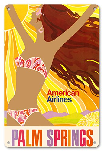 Pacifica Island Art 8in x 12in Vintage Tin Sign - Palm Springs - California Girl - American Airlines