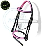 Royal Fancy Anatomic Raised Pink Padded Bridle with PP Rubber Reins./ Vegetable Tanned Leather./ Brass Buckles.