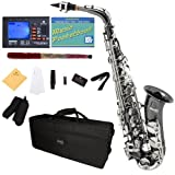 Mendini by Cecilio MAS-BNN+92D+PB Black Nickel Plated and Nickel Plated Keys E Flat Alto Saxophone with Tuner, Case, Mouthpiece, 10 Reeds and More