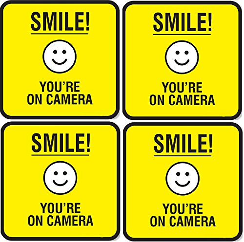 (Set of 4) Smile You're On Camera Signs - 5